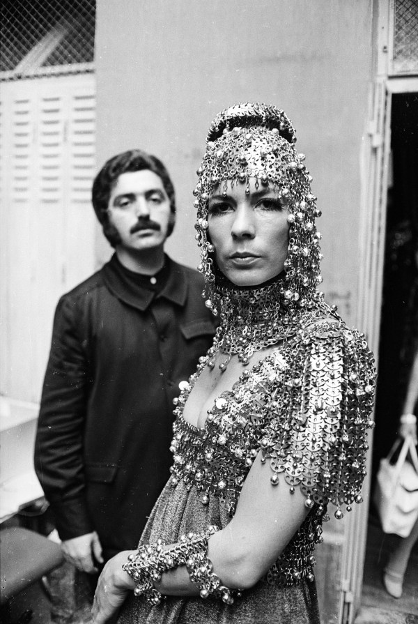 paco-rabanne-with-model-isabel-feldel-wearing-one-of-his-designs-1967