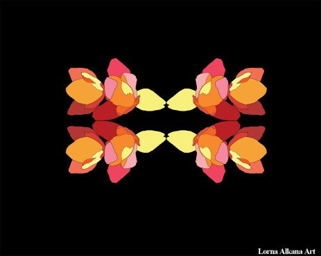 9. Basic flower shapes, mirrored, less contrast