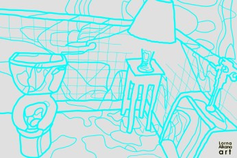 9. Blue Lines on Gray (i printed this on foam board to live-draw at an art event. updates to come)