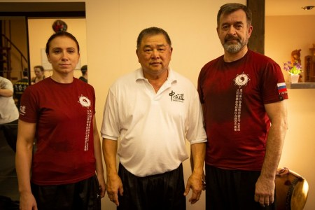 Grand master Sam Chin with Russian students Alexander Skalozub and Daria Sergeeva