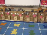 BIg Paper Bag Reindeer made by the kids