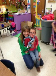 With Ms. Ashburn. She made each kiddo one of the cute scarves you see!
