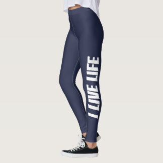 I Live Life Midnight Blue Trendy Athletic Leggings