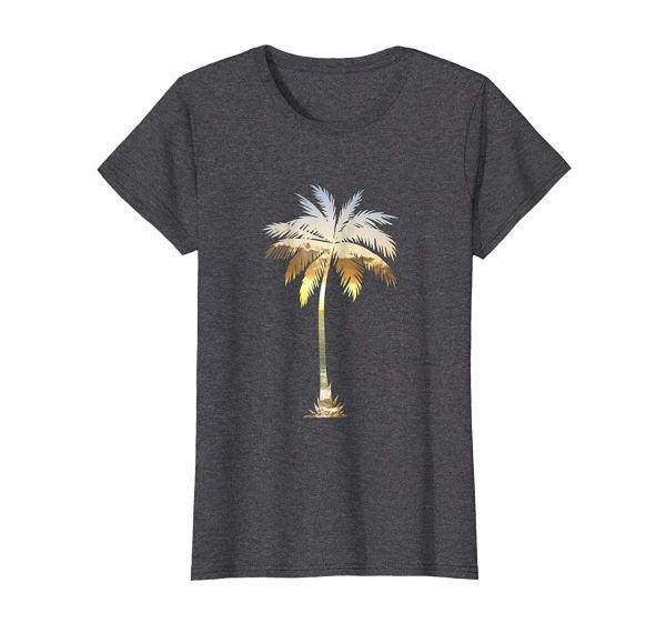 Palm Tree Silhouette | Tropical Beach Sunset | I Live Life T-Shirt on Amazon