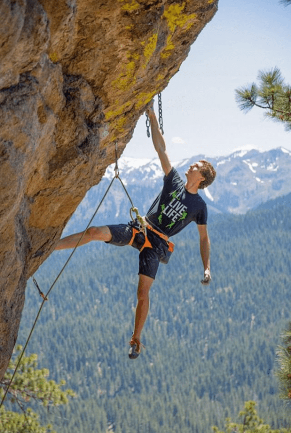 Colin Wills Rock Climbing in the The Rock Climbing T shirt | I Live Life Mountain