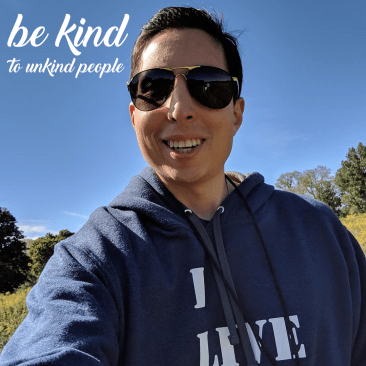 Picture of Jim 'Jimbo' Zarifis with Be kind to Unkind people motivational quote