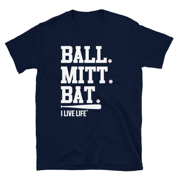 The I Live Life Ball Mitt Bat baseball tshirt on ilivelifeill.com
