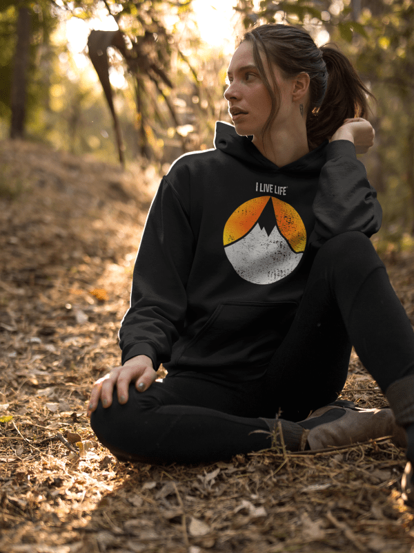 I Live Life Mountain Sunset premium hoodie on ilivelifeill.com