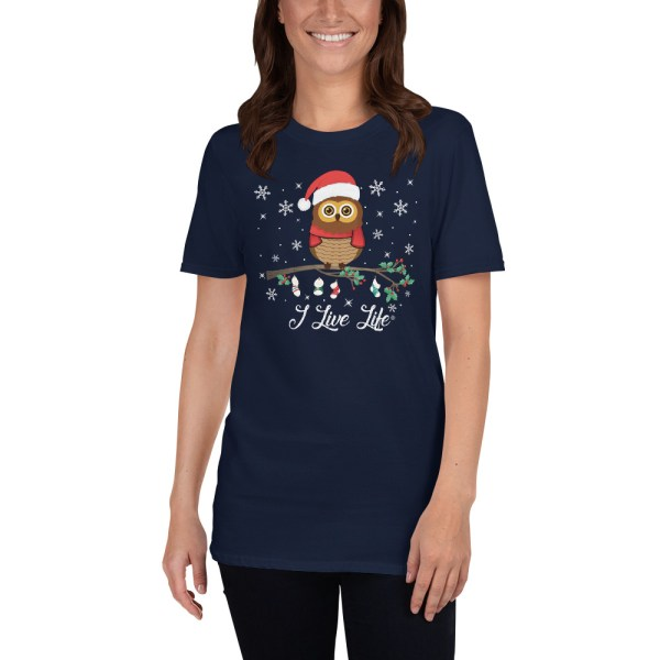 I Live Life Cute Owl Christmas Tshirt