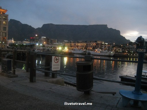 V&A Waterfront in Cape Town with Table Mountain on the background