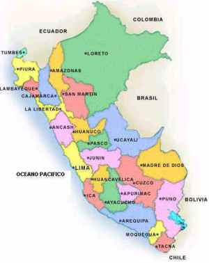 Map (mapa) of Peru by its regions