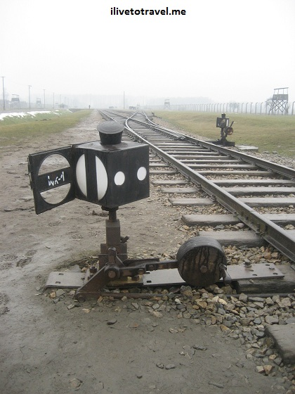 Train track lamp in Auschwitz concentration camp in Poland