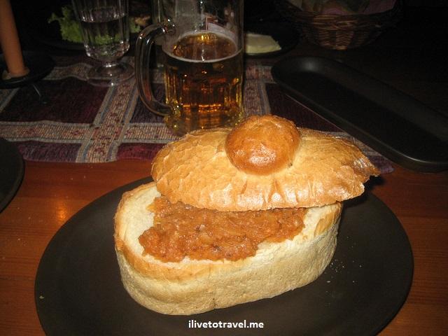 pork knuckle, Polish food, Krakow, Poland, bread