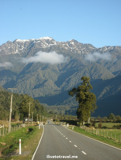 View of road in New Zealand's southern island