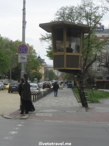 Guard post in Sofia, Bulgaria reminiscent of communist times