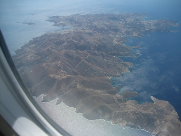 View of Greek Islands from plane