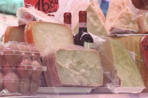 Cheese, eggs and wine at the food market at the Testaccio