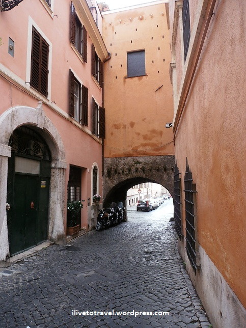 Typical alley in the Trastevere in Rome, Italy