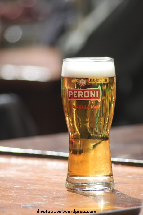 A glass of beer, a Peroni, in Rome's Campo de Fiore