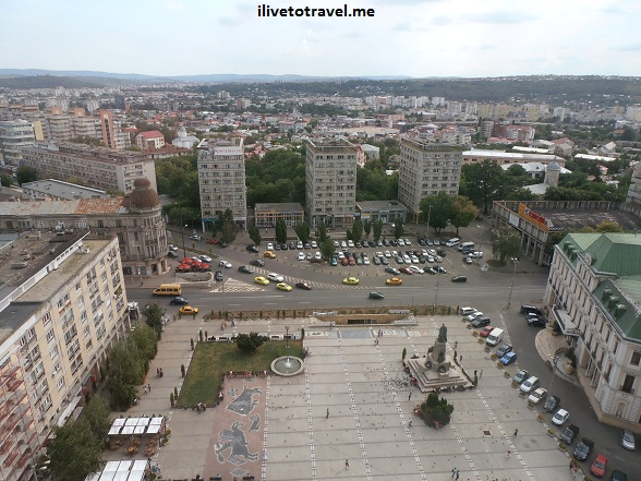 View from the Unirea Hotel at the same-named square in Iasi (Iaşi), Romania