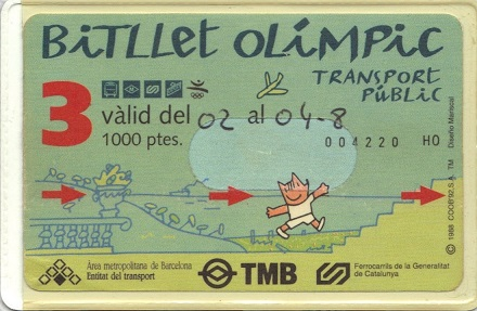 1992 Barcelona Olympics, Olympic Games, souvenir, ticket, billet, public transportation, mascot