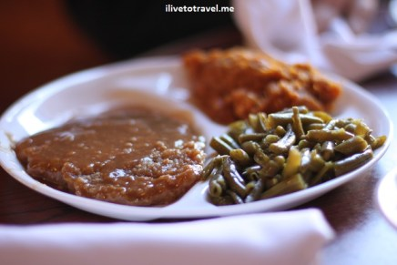 Country fried steak, green beens and sweet potatoes - great southern food