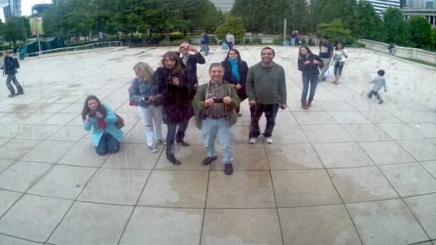 Posing in front of the Bean in Chicago at Millenium Park