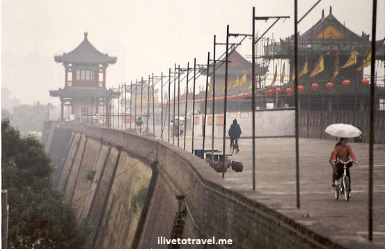 Xi'an - City Wall in Xian China on a gray day