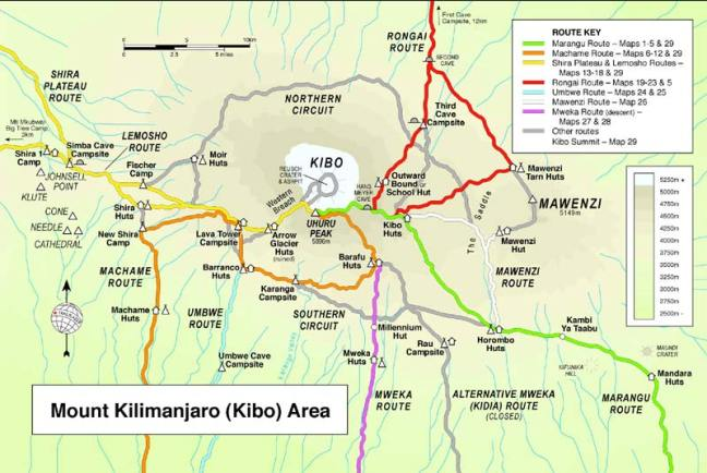 Routes to climb Mt. Kilimanjaro