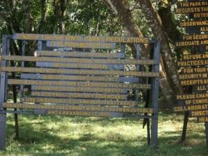 Sign on Machame Gate at Kilimanjaro