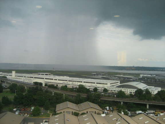 A storm over Washington D.C. as seen from the Arlington Renaissance Hotel