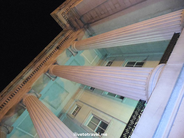U.S. Treasury Department at night - looking at its columns