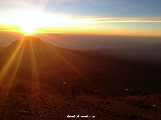 Approach to Stella Point in Mt. Kilimanjaro on the way to Uhuru Peak sunrise roof Africa