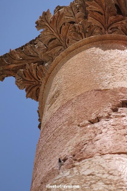Ruins Jerash column blue sky Jordan