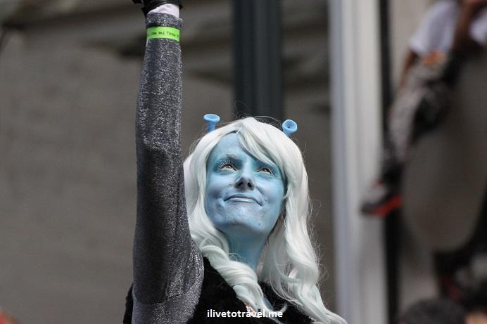 DragonCon, Atlanta, parade, conference, convention, science fiction, fantasy, Canon EOS Rebel, cosplayer, Klingon, blue