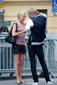 young couple, Stockholm, Sweden, summer, street scene, travel, photo, Canon EOS Rebel