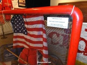 Winter Olympics, Lake Placid, hockey goal, U.S. flag