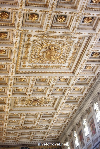 Rome, St. Paul, Outside The Walls, fuori le mura, major basilica, Catholic Church, travel, photo, Italy,, ceiling, stucco