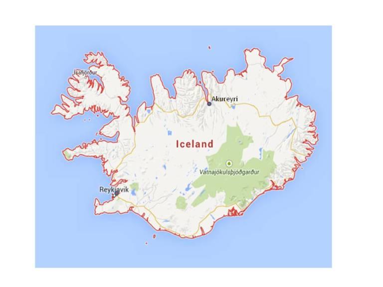 map, Iceland, Reykjavik, Akureyri, travel