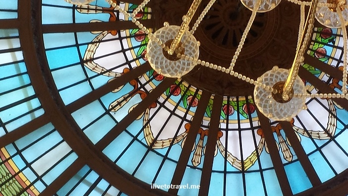 Cupola, Westin, Madrid, Spain, architecture, design, glass, stained, blue, travel