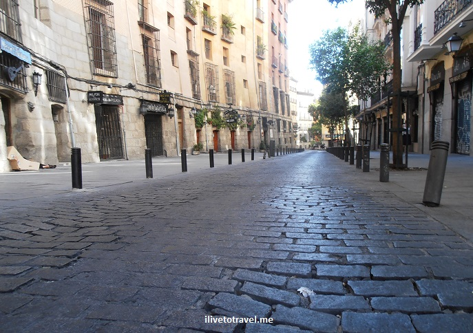 cobblestone, street, Madrid, walk, walking, Spain, travel, tourism, photo, Olympus