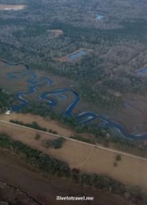 Brunswick, Georgia, coast, window view, airplane, travel, South, trees, river, final approach