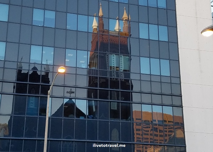 Shrine, Immaculate Conception, downtown, Atlanta, reflection, glass, photo, Samsung Galaxy