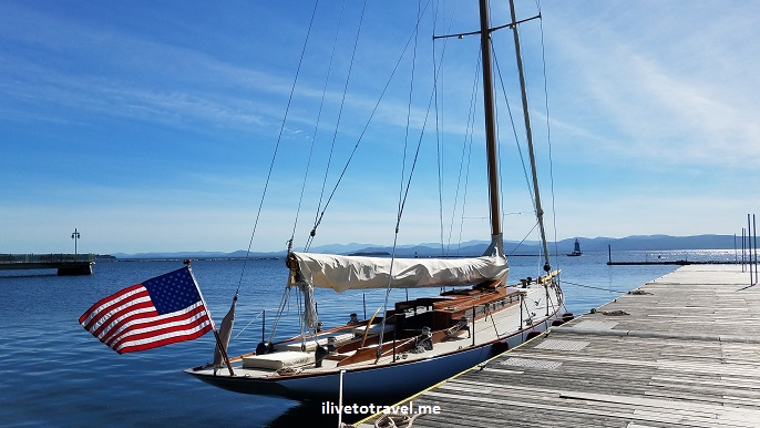 Lake Champlain, Burlington, sailboat, Vermont, blue sky, peaceful, beautiful