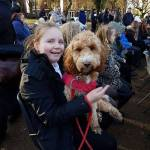 Courtney Orton and Ruby the Dallimore dog are pictured at the park today for the…