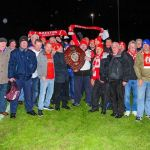 Ilkeston Town football fans celebrate with the Midland League Div 1 runners up s…