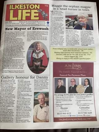 """May be an image of 5 people and text that says '50p Maggie the orphan magpie is a head turner in town seethings ILKESTON LIFE 2021 Witten the community com community surrounding Erewash during New Mayor that's Boxing club school Plenty P3 biggest enjoy month's Reverend paper Gallery honour for Danny Museum A.W.JYMN The Family Funeral Service Funeral odmiceion place. £1,429 Pre-arrange Reducethe Pre-plan yourlo your goodbye contribution Rangeof transferred you move Ilkeston Tuesdays, Thurs- Cotmanhay 13o 0115 944 121 0115 930 1639 /awlymn /awlymn @/a.w.lymn """"Our family serving your family'"""