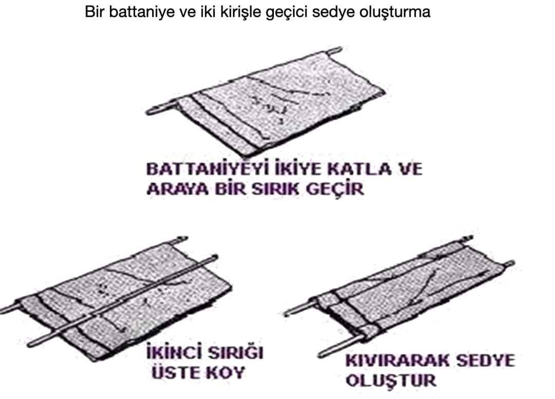Battaniye ve iki kirişle geçici sedye oluşturma