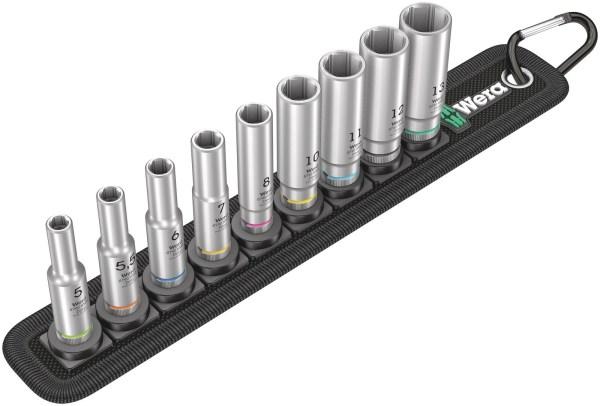 """Der Wera Belt A Deep 1 Steckschlüsseleinsatz-Satz kommt im robusten Textilgurt (Belt), welcher im typischen Wera Design mit 9 langen 1/4""""..."""