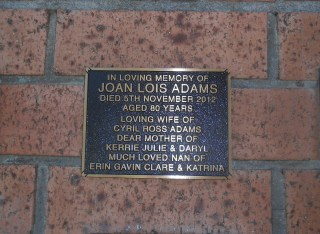 Joan Adams Plaque at St Augustines Anglican Cemetery Bulli